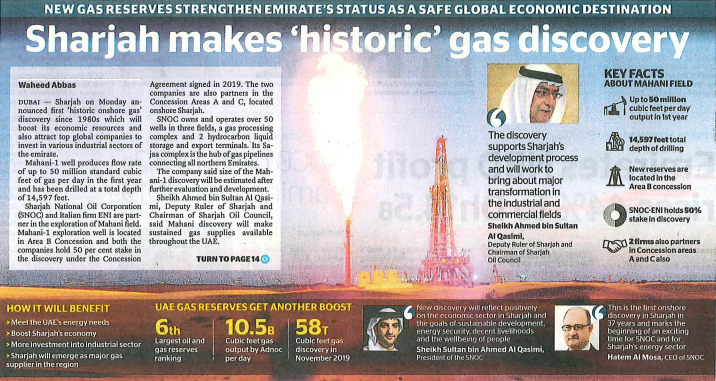 Sharjah makes 'historic' gas discovery